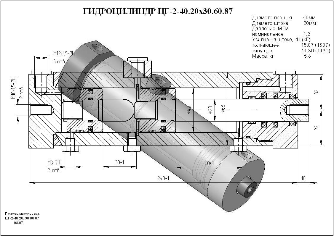 Гидроцилиндр ЦГ-2-40.20х30.60.87