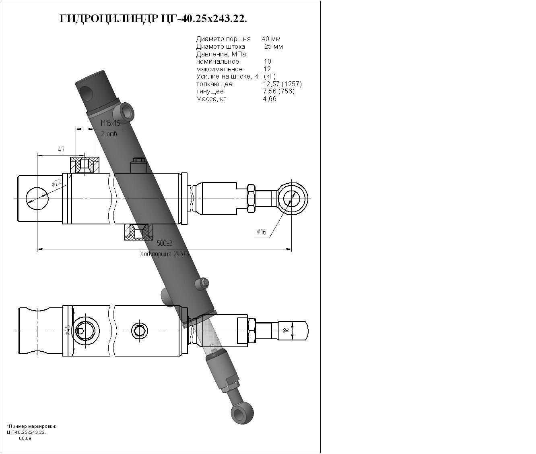 Гидроцилиндр ЦГ-40.25х243.22
