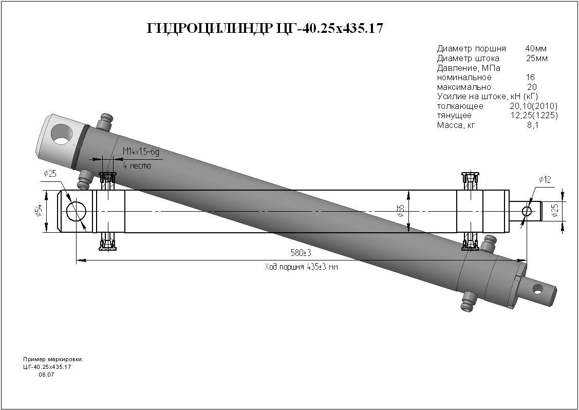 Гидроцилиндр ЦГ-40.25х435.17