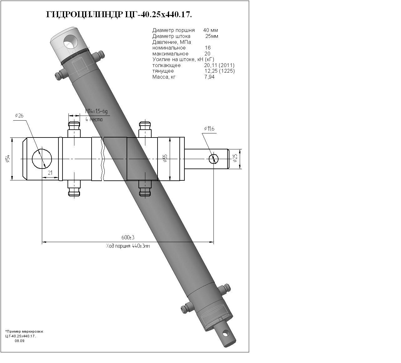 Гидроцилиндр ЦГ-40.25х440.17
