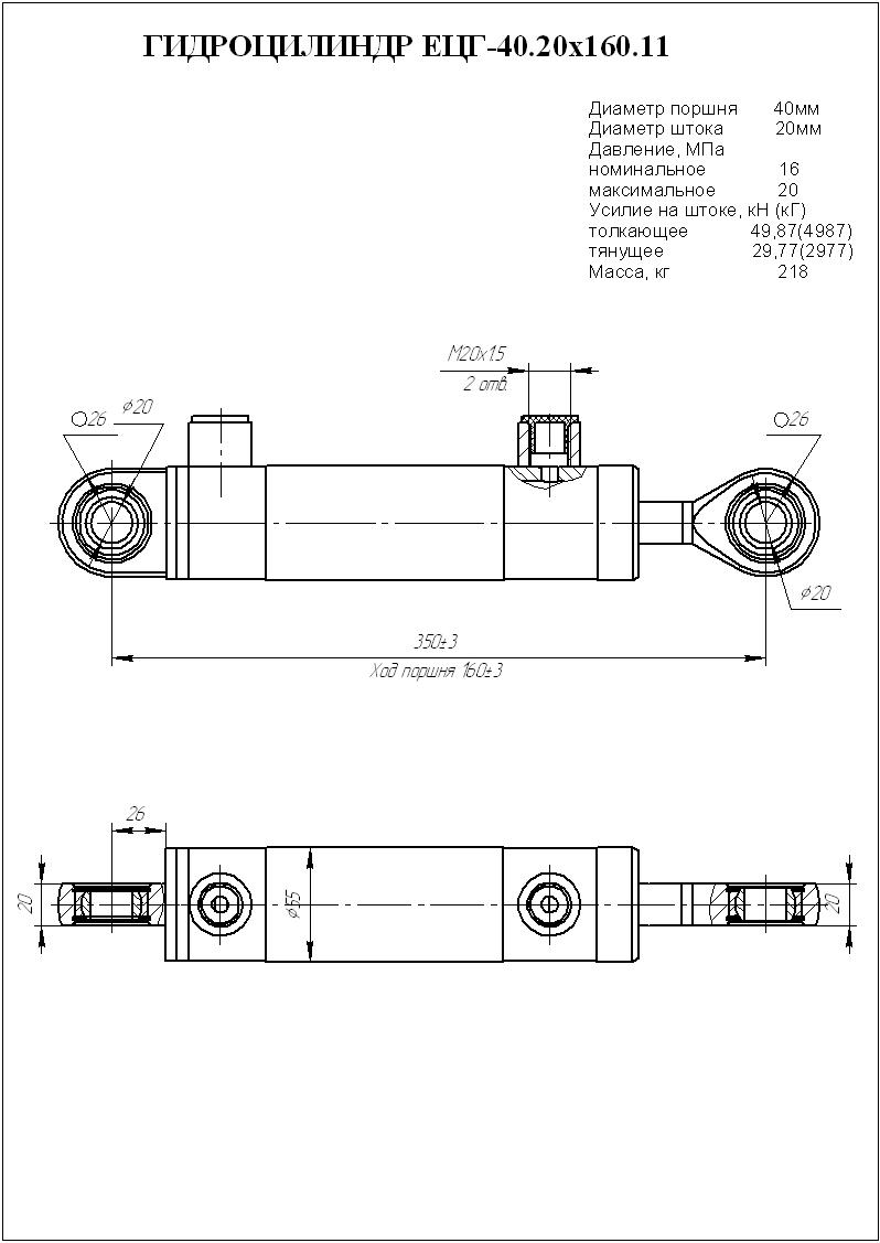 Гидроцилиндр ЕЦГ-40.20х160.11